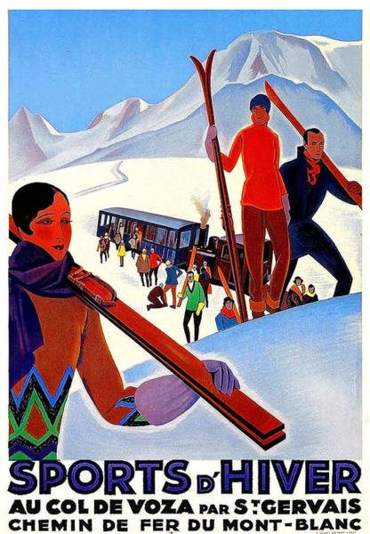Mont Blanc Wall Art - Painting - Mont Blanc, Mountain, France, Skiing by Long Shot