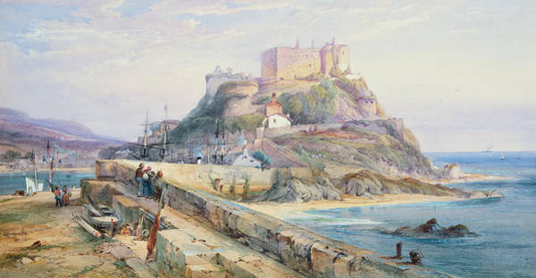 Outcrop Painting - Mont Orgueil Castle by Richard Principal Leitch
