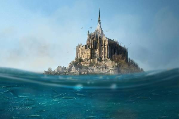 Ocean Scape Digital Art - Mont Saint Michel by Andrea Gatti
