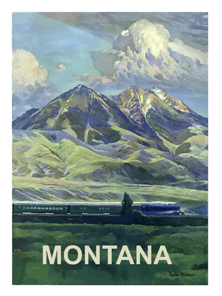 Vintage Train Painting - Montana, Railway, Mountains by Long Shot