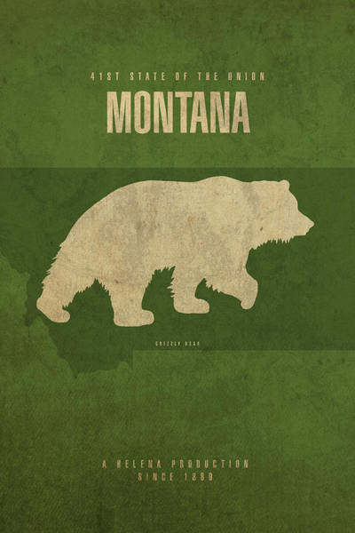 Grizzlies Mixed Media - Montana State Facts Minimalist Movie Poster Art by Design Turnpike
