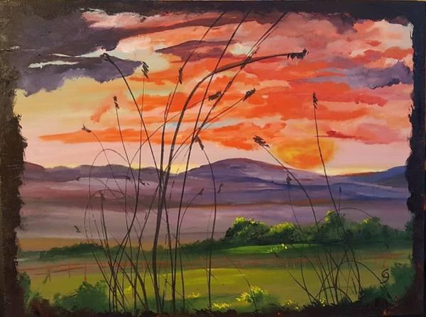 Painting - Montana Summers End Sunset    47 by Cheryl Nancy Ann Gordon