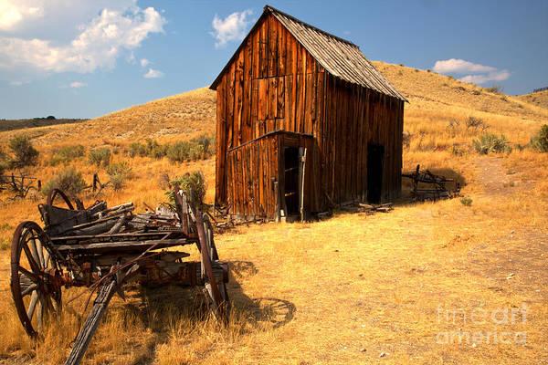 Photograph - Montana Wagon And Barn by Adam Jewell