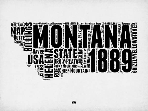 Map Art Mixed Media - Montana Word Cloud 2 by Naxart Studio
