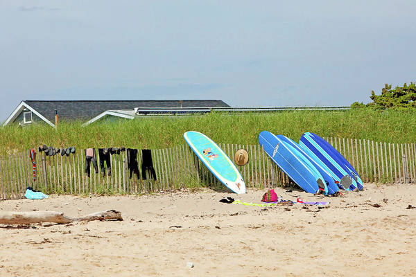 Surfboard Fence Photograph - Montauk Beach Stuff by Art Block Collections