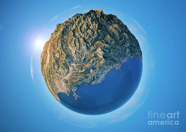 Little Planet Digital Art - Monte Carlo 3d Little Planet 360-degree Sphere Panorama by Frank Ramspott