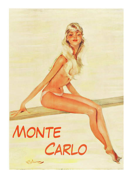 Wall Art - Painting - Monte Carlo, Blond Girl In Topless by Long Shot