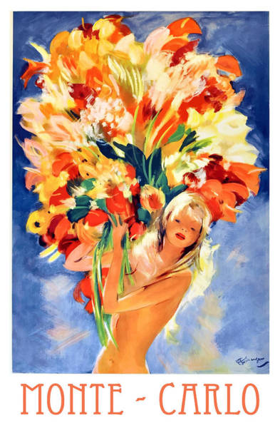 Wall Art - Digital Art - Monte Carlo Girl With Flowers 1940's Travel Poster by Retro Graphics