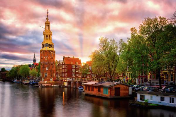 Houseboat Photograph - Montelbaanstoren At Sunset - Amsterdam, Netherlands by Nico Trinkhaus