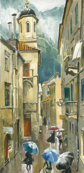 Painting - Montenegro. Kotor. Rainy Day by Igor Sakurov
