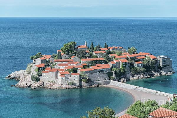 Balkan Peninsula Photograph - Montenegro Sveti Stefan Elevated View by Antony McAulay