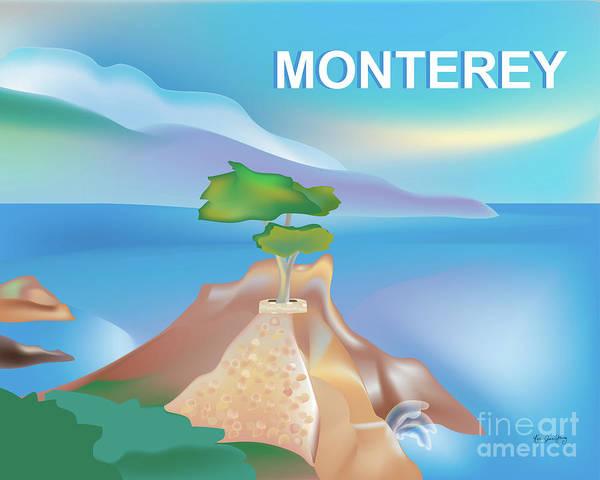 Wall Art - Digital Art - Monterey Bay California Horizontal Scene by Karen Young