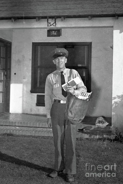 Photograph - Monterey  Mailman On His Route,   Sept. 1946 by California Views Archives Mr Pat Hathaway Archives