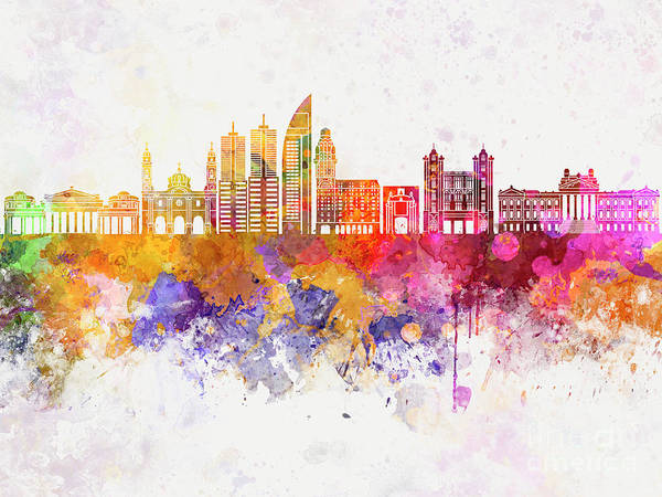 Montevideo Wall Art - Painting - Montevideo Skyline In Watercolor Background by Pablo Romero