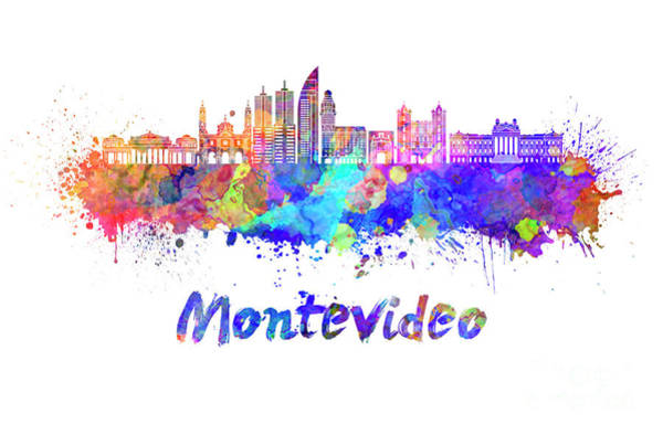 Montevideo Wall Art - Painting - Montevideo Skyline In Watercolor by Pablo Romero