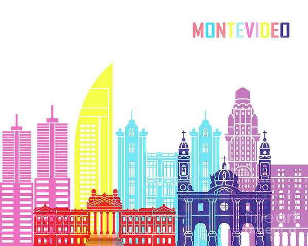 Montevideo Wall Art - Painting - Montevideo Skyline Pop by Pablo Romero