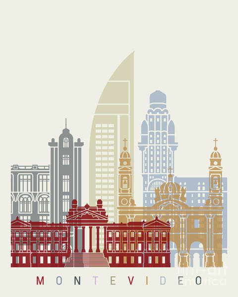 Montevideo Wall Art - Painting - Montevideo Skyline Poster by Pablo Romero