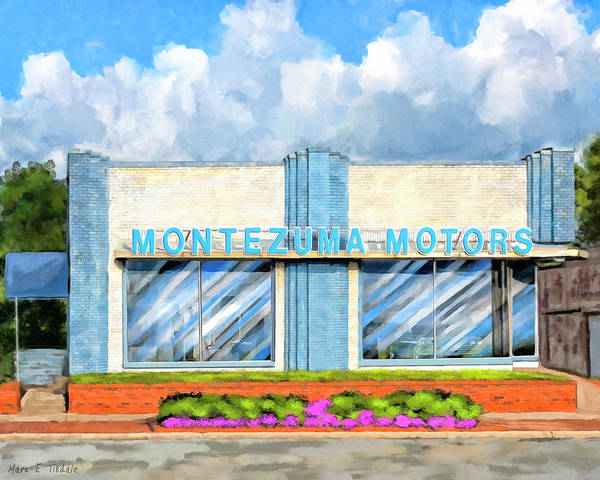 Wall Art - Mixed Media - Montezuma Motors - Local Landmark by Mark Tisdale