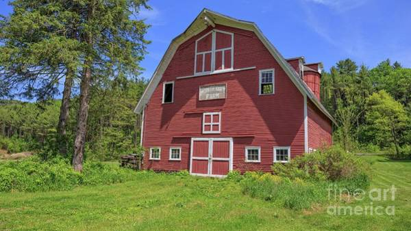 New England Barn Photograph - Montford Farm Red Barn Orford New Hampshire by Edward Fielding
