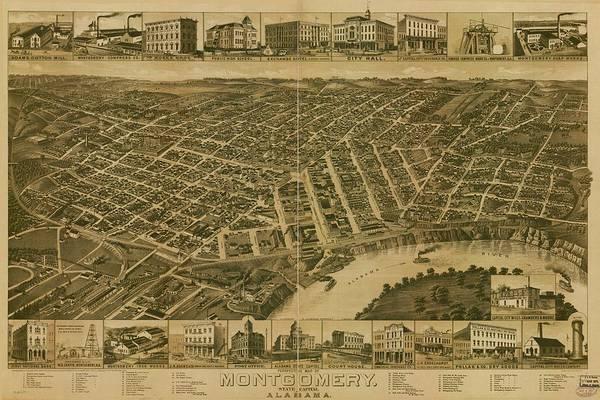 Alabama Painting - Montgomery Alabama 1887 by Celestial Images