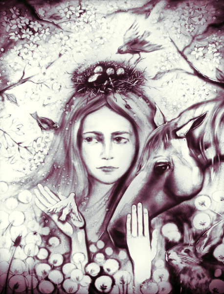 Painting - Month May Allegory. Monochrome by Elena Vedernikova