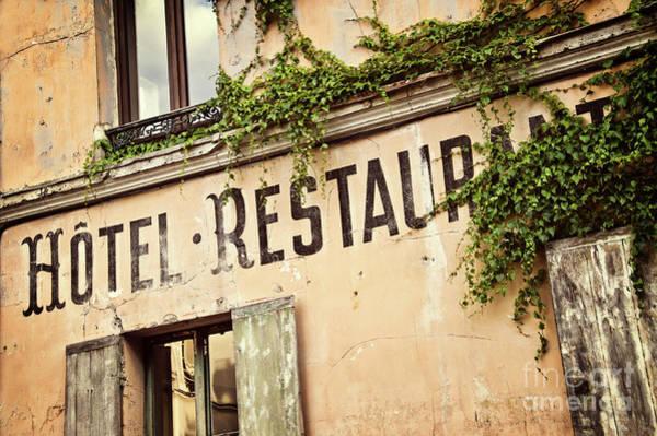 Parisian Photograph - Montmartre Hotel Restaurant  by Delphimages Photo Creations