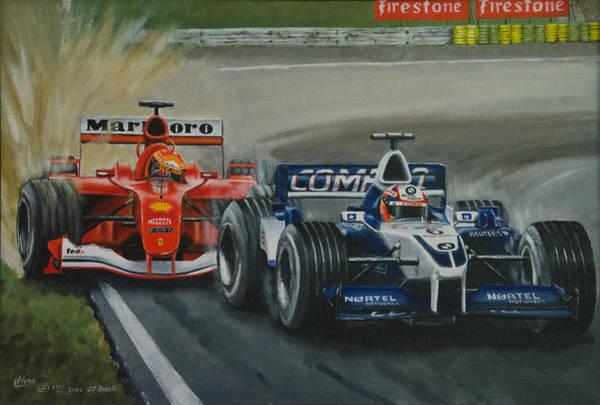 Autosport Painting - Montoya Brazil 2001 by Henk Uitslag