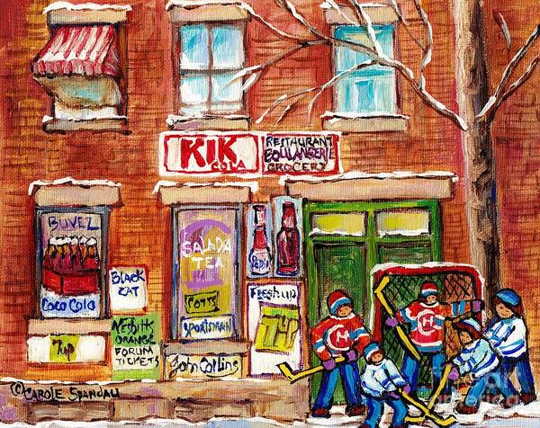 Painting - Montreal Art Local Neighborhood Grocery Canadian Hockey Paintings Carole Spandau Winterscenes Artist by Carole Spandau