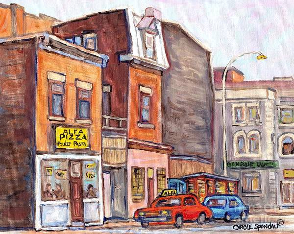 Painting - Montreal Art Streetscene Painting Storefront Shops News Stand Alpha Pizza Neighborhood Art C Spandau by Carole Spandau