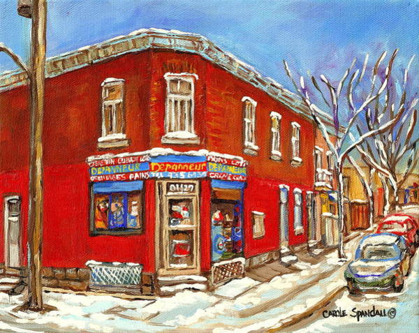 Painting - Montreal Depanneur Grocery Store Surplus De Pain Winter City Scenes In The Point Carole Spandau      by Carole Spandau