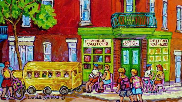 Painting - Montreal Depanneur Rue Delisle St Henri City Scene Painting Summer In The City Carole Spandau Artist by Carole Spandau