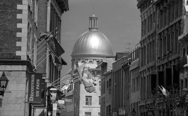 Photograph - Montreal Dome Of Marche Bonsecours Bw by Frank Romeo