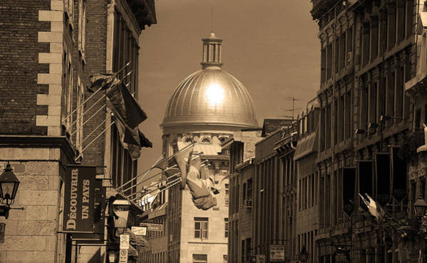 Photograph - Montreal Dome Of Marche Bonsecours Sepia by Frank Romeo