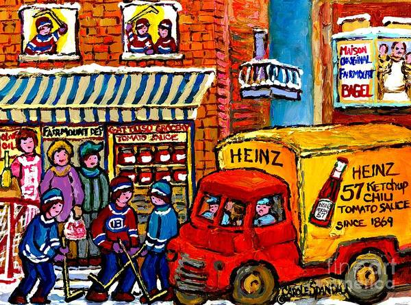 Painting - Montreal Gattuso Grocer Rue Fairmount Street Hockey Game Heinz Ketchup Delivery Truck Carole Spandau by Carole Spandau