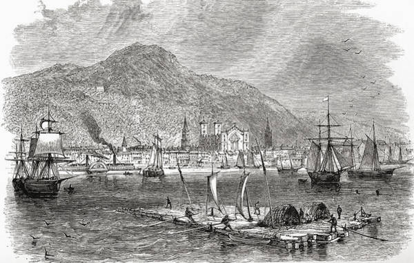 Quebec City Drawing - Montreal Harbour, Quebec, Canada In The by Vintage Design Pics