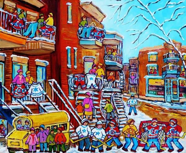 Painting - Montreal Hockey Art Original Canadian Winter Scene Painting For Sale Wash Day Wilensky's C Spandau by Carole Spandau