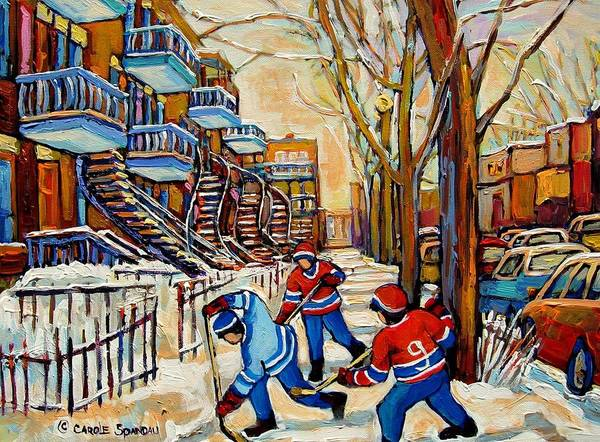 Wall Art - Painting - Montreal Hockey Game With 3 Boys by Carole Spandau