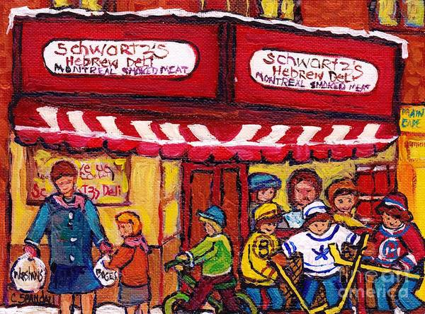 Painting - Montreal Landmarks For Sale Schwartz's Deli Winterscenes Hockey Art For Sale by Carole Spandau