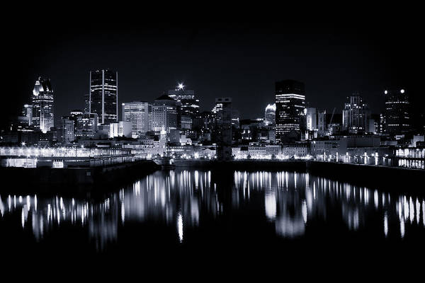 Old Montreal Photograph - Montreal Night Lights 001 by Roger Branker