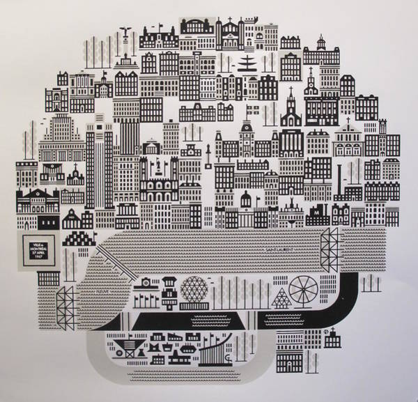 Quebec City Drawing - Montreal On 27 April 1967 Expo '67 by Raymond Biesinger