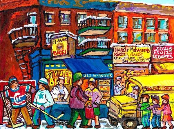 Painting - Montreal Painting St Viateur Bagel Shop Canadian Winter Street Scene Hockey Art Yellow School Bus  by Carole Spandau