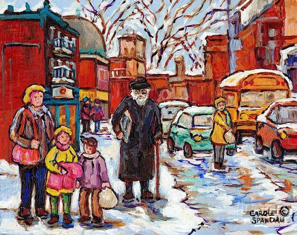 Painting - Montreal Painting St Viateur Winter Scene For Sale Rabbi With Torah Mom And Kids Schoolbus C Spandau by Carole Spandau