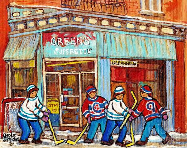 Painting - Montreal Paintings Canadian Winter Scene Painting For Sale Greens Depanneur Mcgill Ghetto C Spandau  by Carole Spandau