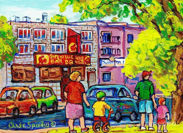 Bbq Painting - Montreal Paintings Cote St Luc Bbq Decarie And Girouard Summer Cityscape C Spandau Canadian Art by Carole Spandau