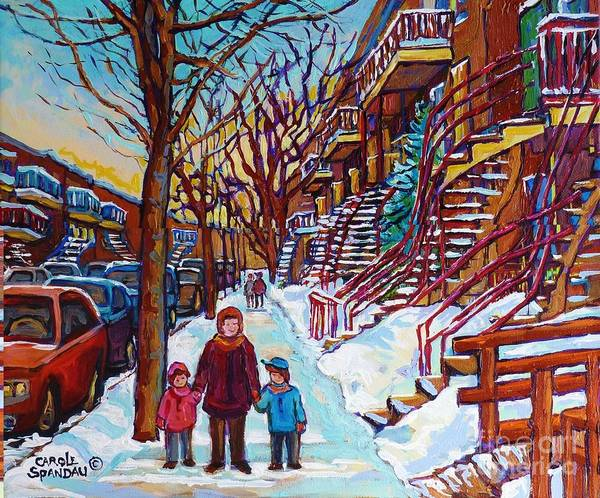Montreal Neighborhoods Wall Art - Painting - Montreal Paintings Staircase Scenes For Sale Winter Stroll Verdun To Plateau Mont Royal Winter Scene by Carole Spandau