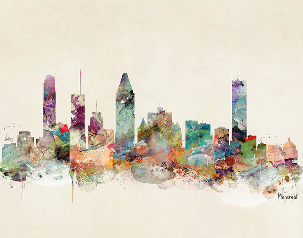 Montreal Wall Art - Painting - Montreal Quebec Canada Skyline by Bri Buckley