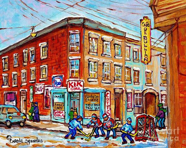 Painting - Montreal Storefront Paintings Debullion Street Hockey Art Quebec Winterscenes C Spandau Canadian Art by Carole Spandau
