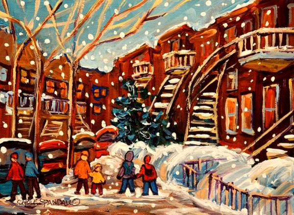Prince Arthur Painting - Montreal Street In Winter by Carole Spandau