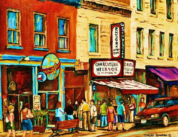 Painting - Montreal Streetscene Artist Carole Spandau Paints Schwartzs Main Street Hustle Bustle by Carole Spandau