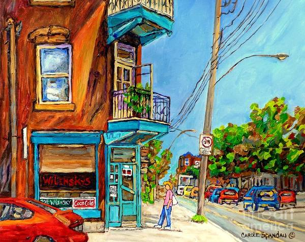 Painting - Montreal Summer Scene Painting Wilensky's Lunch Fairmount And Clark Canadian Art Carole Spandau by Carole Spandau